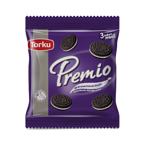 Torku premio melk cream chocolade biscuit 3x132 gr multipack